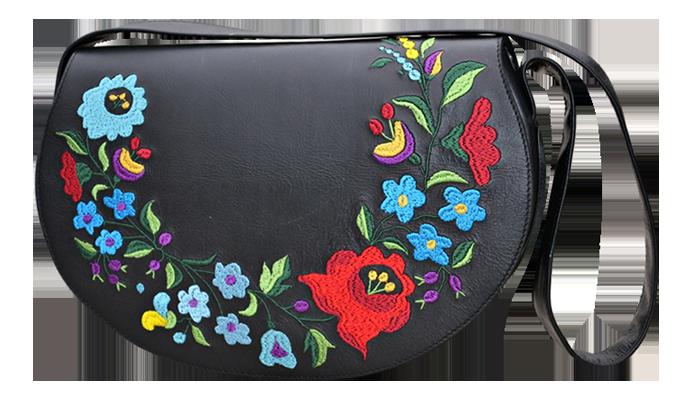 1032a0977afc Női táska hímzett kalocsai, fekete