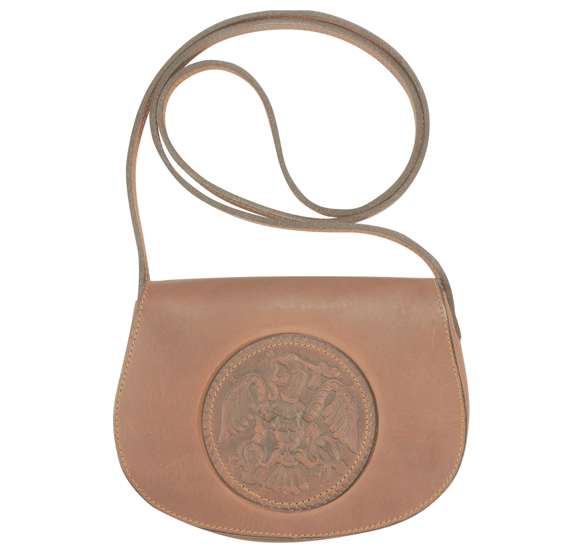 08682efcfaee Női kisméretű válltáska Rakamazi turul benyomattal, barna marhabőrből