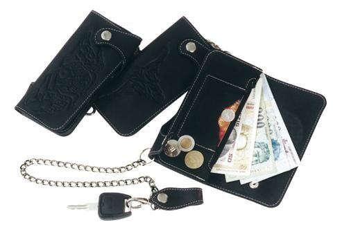 Láncos pénztárca bőrből
