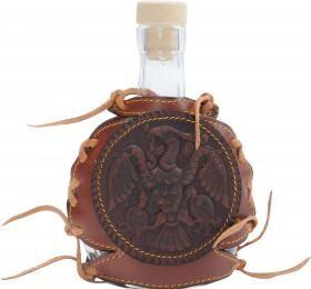 Övre akasztható, bőrbe csomagolt pálinkás butykos